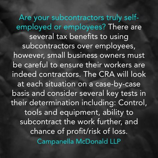 Tax Tip Tuesday: Are your subcontractors truly self-employed or employees?