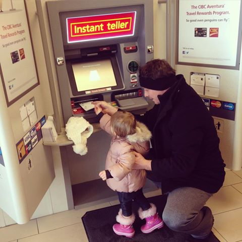 The snow in Burlington this morning didn't stop John Paul from taking his 2yr old daughter Brooke to the bank to open her own bank account. Never to young to start saving and learning about money. Happy Monday!